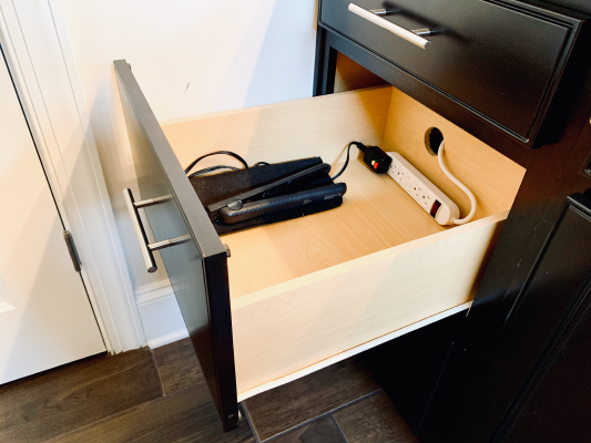 DIY Outlet In Drawer